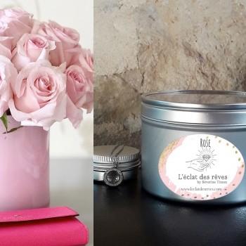 Bougie l'Eclat des Rêves. Parfumée à la rose, elle renferme un précieux bijou.